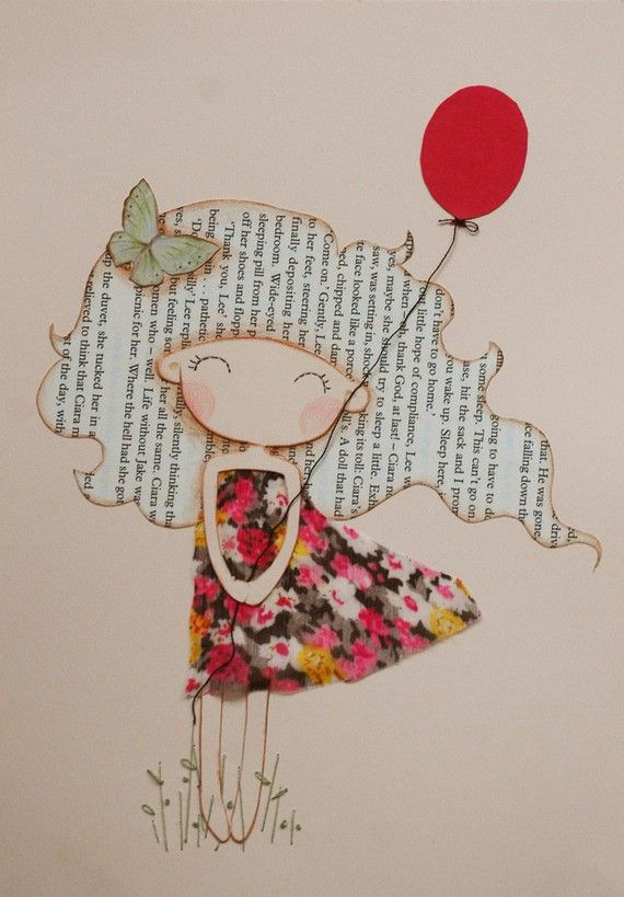 Girl with Red Balloon Original Mixed Media por lazydoll en Etsy
