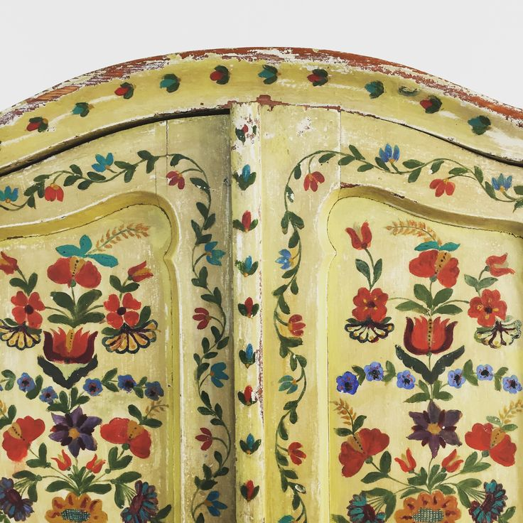 folkore hand painted vintage cabinet