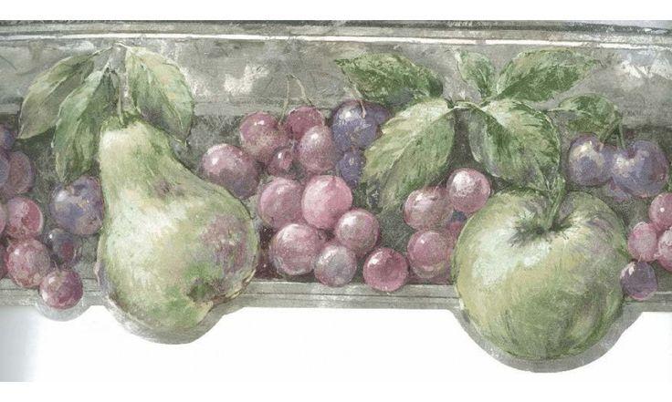 Kitchen Borders : Pink Green Fruits Wallpaper Border