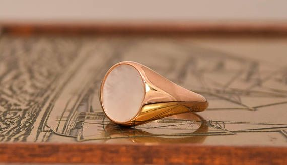 25%off 14k Ring, Solid Gold Signet Ring, Pearl Gold Ring, Mother Of Pearl Ring, Women Signet Ring, Rose Gold Signet, White Agate Ring,