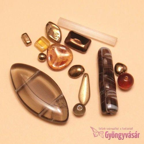 Barna-bronzszínű vegyes cseh gyöngy, 15 g • Gyöngyvásár.hu