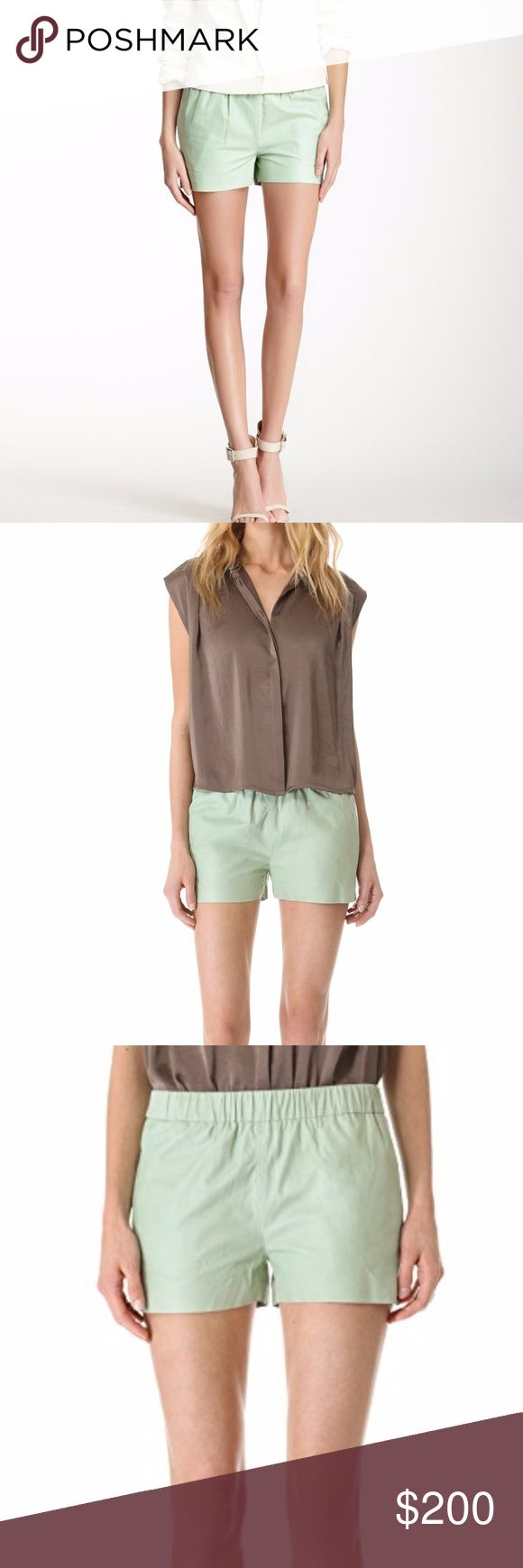 J Brand Lynn Lambskin Leather Shorts Small NWT J Brand Lynn Lambskin Leather Raw Hem Shorts.  Brand new with tags. Size: Small - Color: Foam (light, mint green color). - Soft and supple lambskin leather, - Elasticized waist, - On-seam side pockets, - Small slits at side hems, - Shell: Dyed Lambskin Leather; Pocket Lining. J Brand Shorts