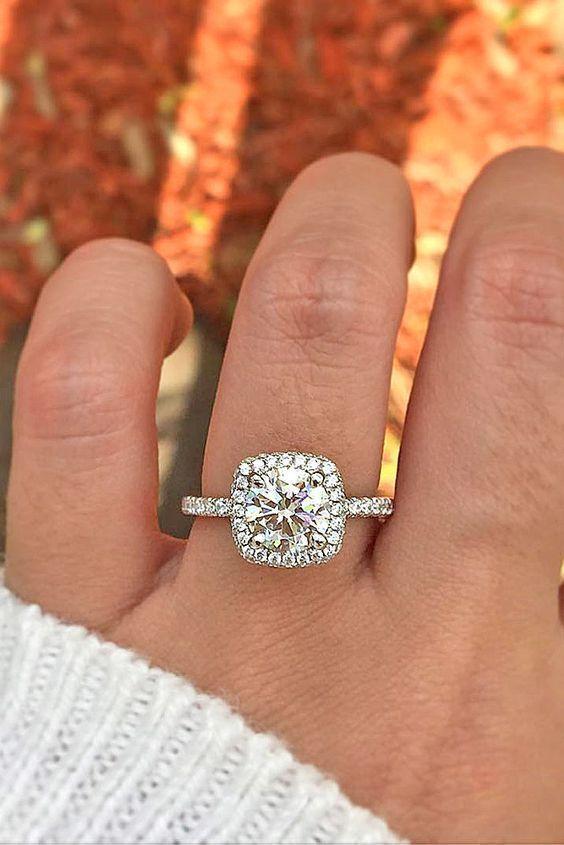 Wedding Rings 18 Brilliant Cushion Cut Engagement Rings ❤ Halo Cushion cut engagement rings…