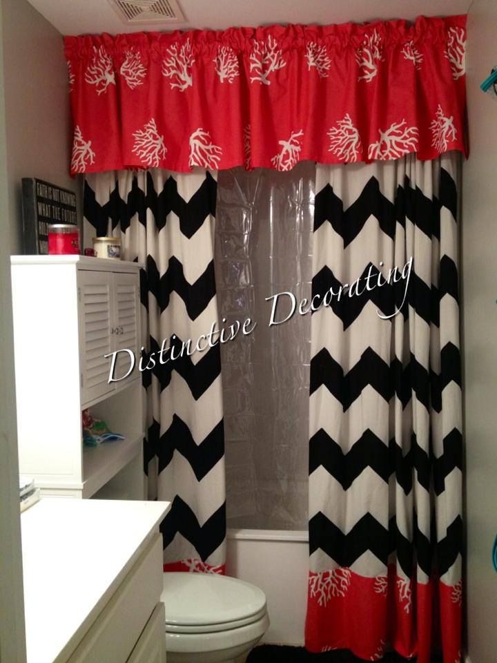double shower curtains with valance - chevron & coral!