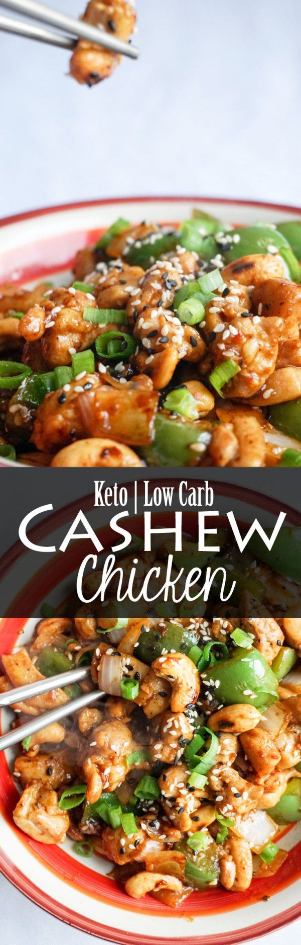 Easy Cashew Chicken ready in under 15 minutes. Keto, Low Carb!