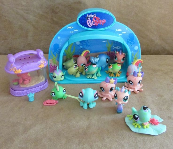 Littlest pet shop lot light up aquarium dome fish crab for Pet stores that sell fish