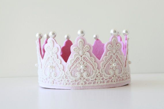 LAST 1 STOCK Creamy Lace on Light pink Felt Couture Crown with pearls Princess Party Girls