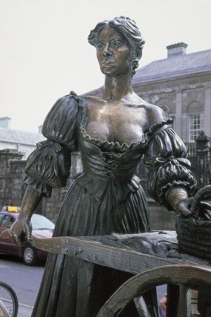 Famous statue of Molly Malone and her wheel-barrow, resides at the bottom of Grafton Street. The 'Molly Malone' song has become the unofficial anthem of Dublin.