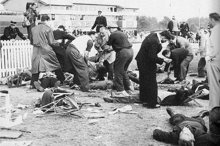 The 1955 Le Mans disaster occurred during the 1955 24 Hours of Le Mans motor race, when a crash caused large pieces of racing car debris to fly into the crowd. Eighty-three spectators and driver Pierre Levegh died at the scene and 120 more were injured in the most catastrophic accident in motorsport history.