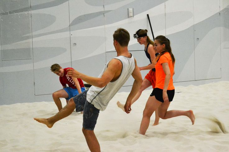 Book a whole beach and organise a beach football tournament instead of beach volleyball!  Afterwards sauna.