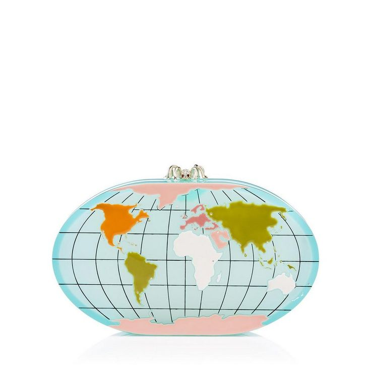 Go global this season with Columbus. This perspex clutch box features a hand painted enamel globe detailing and sparkling crystals to mark a selection of the world's style capitals.  |Charlotte Olympia