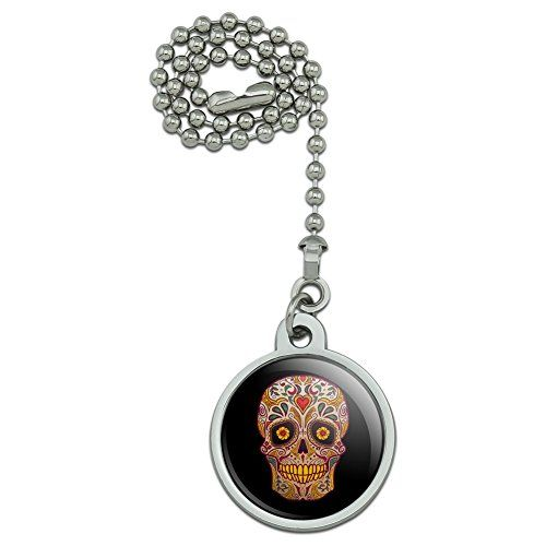 """Skull Day of the Dead Southwestern Ceiling Fan and Light Pull Chain  With this new product from Graphics and More, you can finally accessorize your ceiling fan or light pull! This dandy item includes a ball chain connector, so you can easily latch this onto your existing fan or light pull.  It also features a resin-topped design of your choosing, which you can pick from our wide variety of designs.  The 8"""" (20.3cm) ball chain shown is included and can be easily shortened if desired. Th..."""