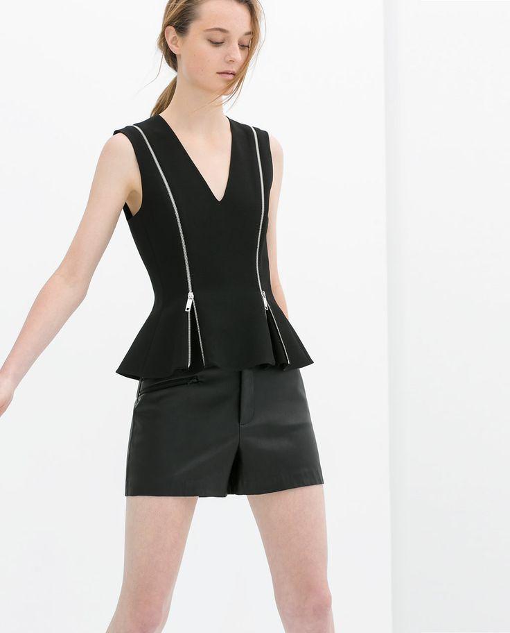 Imagem 1 de TOP PEPLUM FECHOS DE CORRER da Zara
