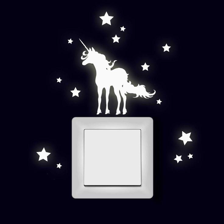 Cute Lichtschaltertattoo Wandtattoo Aufkleber Einhorn mit Sternen fluoreszierend light switch tattoo wall decal unicorn with stars fluorescent