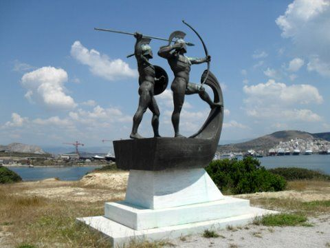 """Monument for the Battle of Salamis, Kynosoura peninsula, Salamis Island, Greece"""