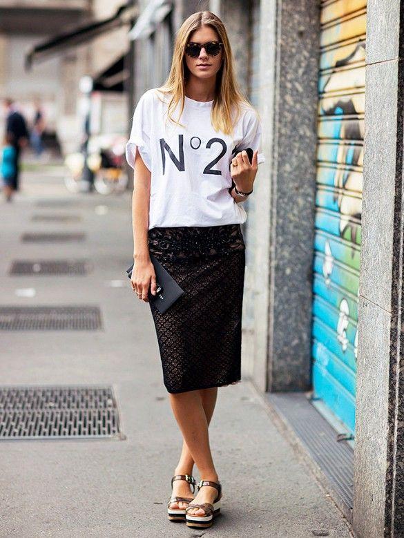 Graphic tee + pencil skirt + flatforms
