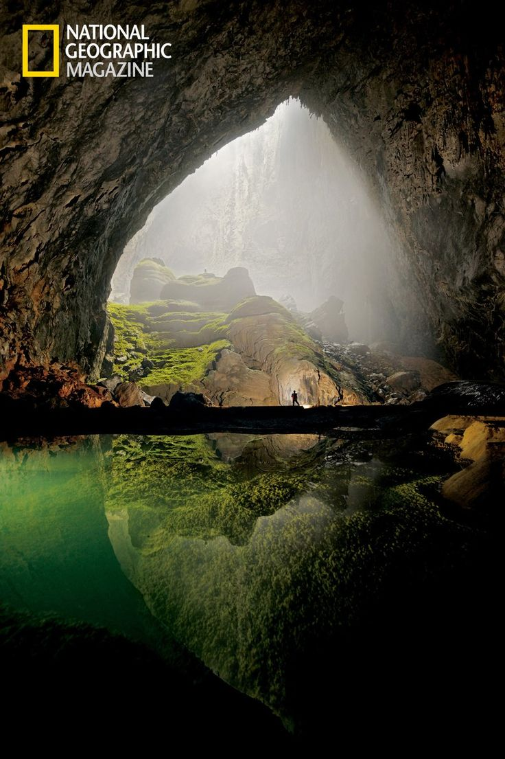 Hang Son Doong, Vietnam, the world's largest cave. A 1/5 mile block of 40 story buildings can fit inside. One of the only caves with a jungle inside, due to a roof collapse.