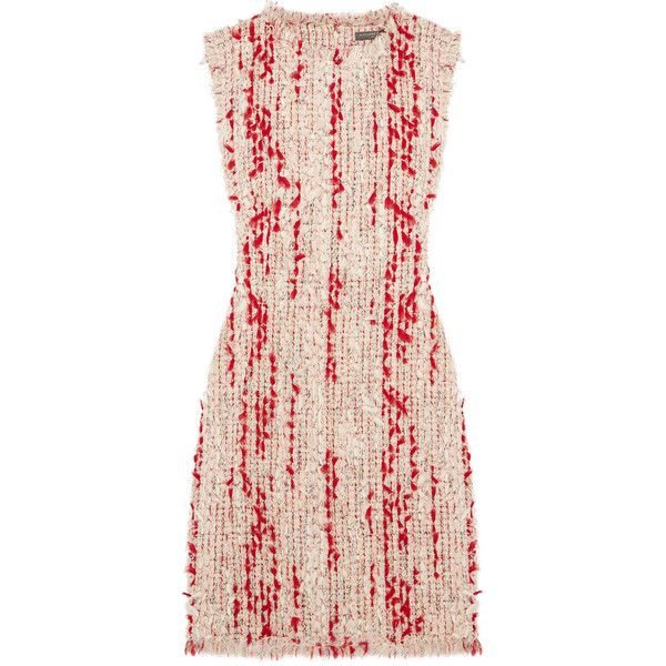 Alexander McQueen Frayed tweed mini dress ($2,470) ❤ liked on Polyvore featuring dresses, suiting, vestido, red mini dress, rainbow dresses, alexander mcqueen dresses, short colorful dresses and red dress