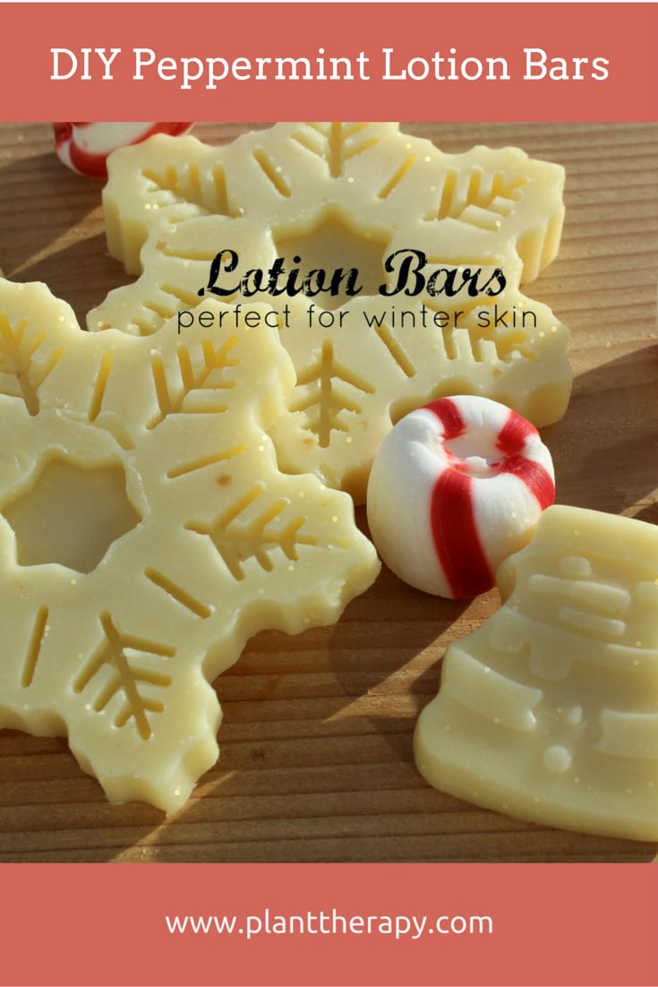 DIY Peppermint Lotion Bars. Perfect for holiday DIY projects. We love how silky smooth this leaves our skin!