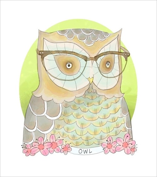 Mrs. Owl: Glasses Watercolor, Watercolor Owl, Dailyanimaldoodl Owl, Art Inspiration, Owl Art, Nearsight Owl, Art Journals, Nearsightedowl Etsy, Owlsom Obsession