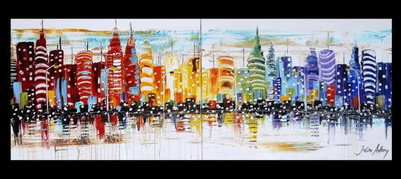 Wall Art Painting Huge 80x30 abstract painting by jolinaanthony