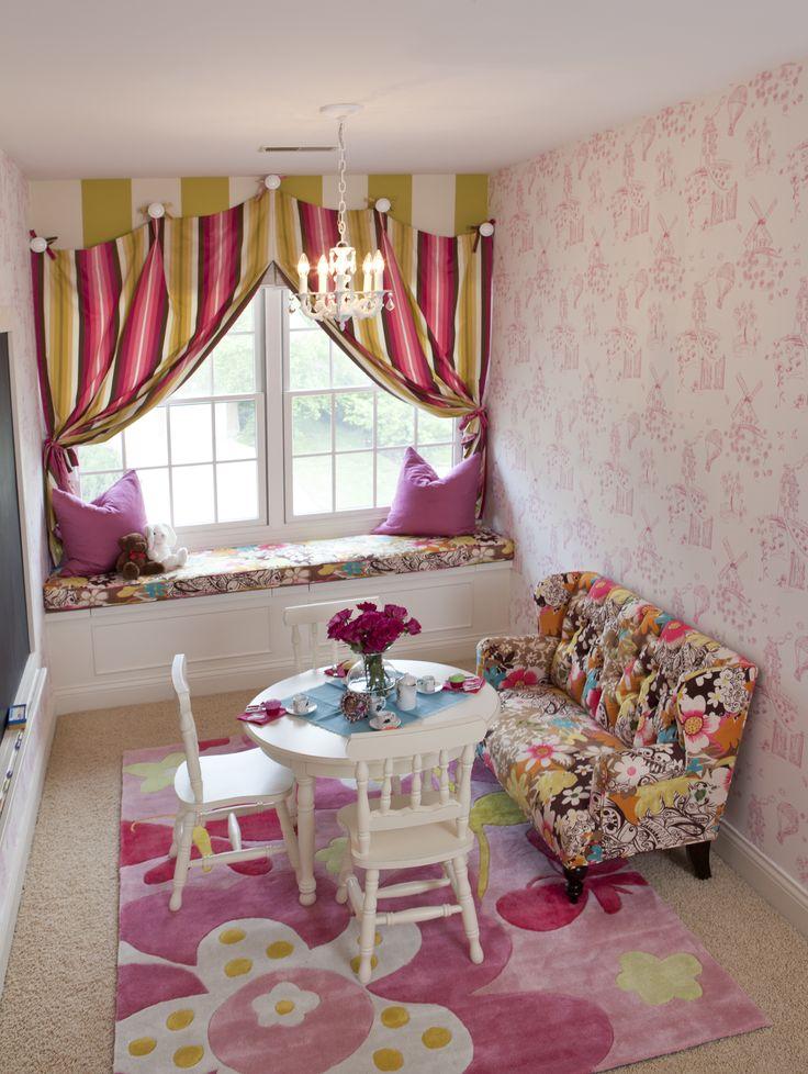 Girls Bedroom by Reusch Interior Design, Pink, Kids Sofa, flower, Green, Stripes, window treatment