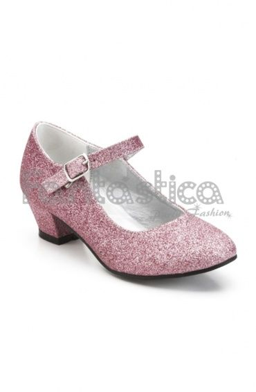 Zapatos Color Rosa con Purpurina - Tallas para Niña y Mujer