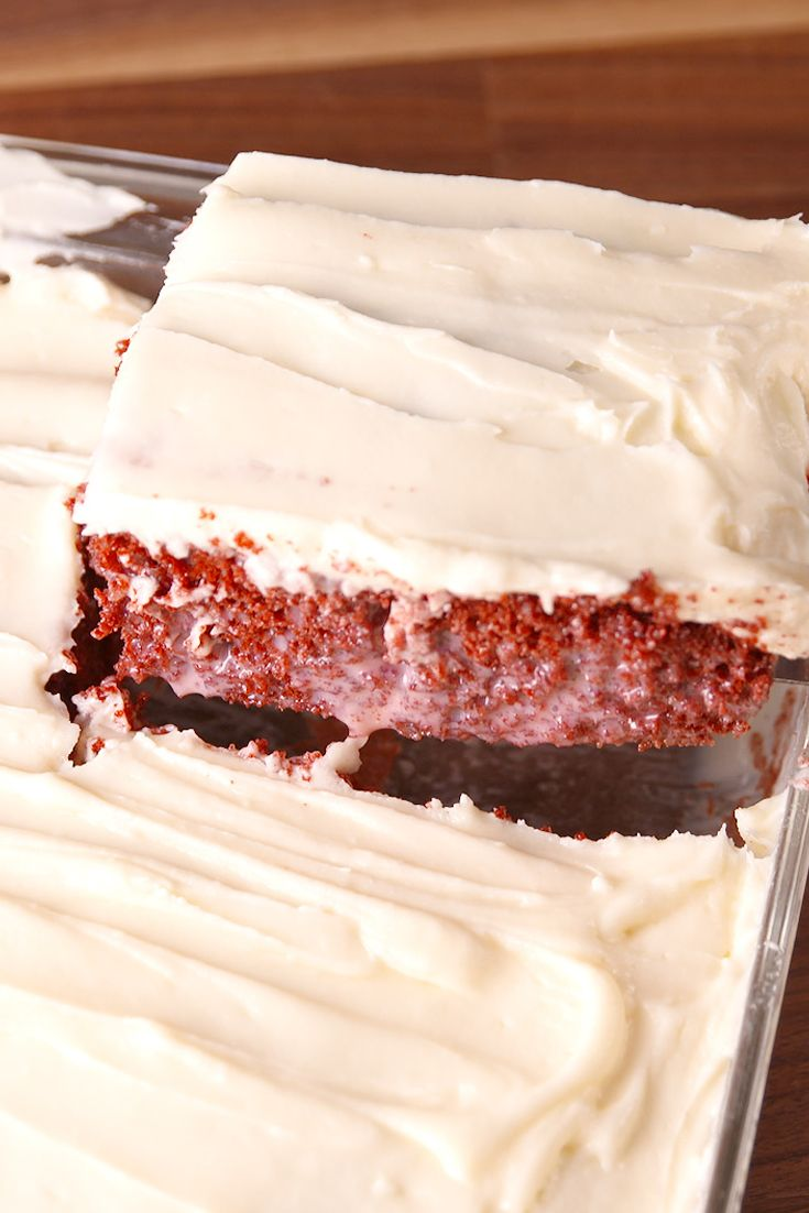 This Poke Cake Is The Ultimate In Red Velvet Desserts ~ Sweetened condensed milk is a serious red velvet game-changer.