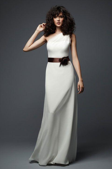 One shoulder chiffon bridesmaid dress with hand made flower sash