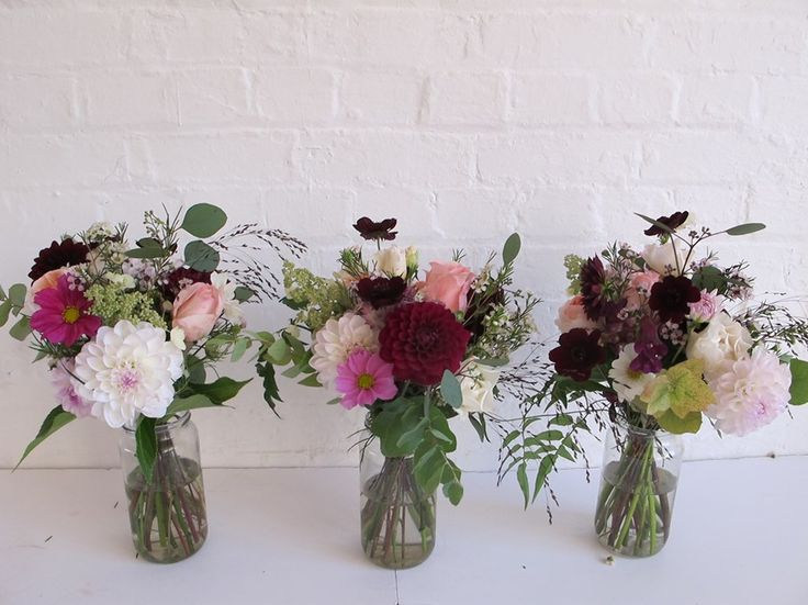 Bridesmaids bouquets with English dahlias and chocolate cosmos by The Flower Appreciation Society