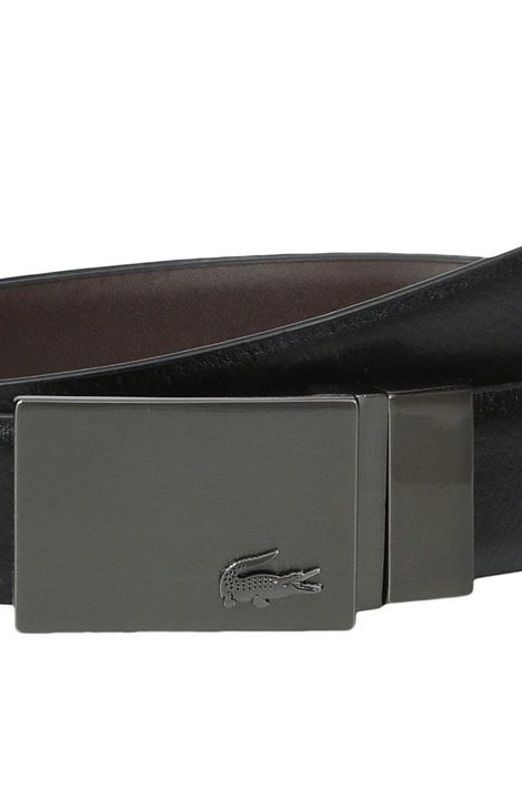 Lacoste Classic Brushed Nickel Plaque Belt (Black/Brown) Men's Belts - Lacoste, Classic Brushed Nickel Plaque Belt, RC1526-HC7, Apparel Bottom Belts, Belts, Bottom, Apparel, Clothes Clothing, Gift - Outfit Ideas And Street Style 2017
