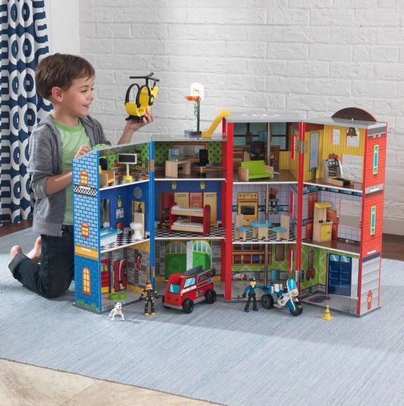 Everyday Heroes Playset Kidkraft Fire Station Police Play Figures Furniture Toy