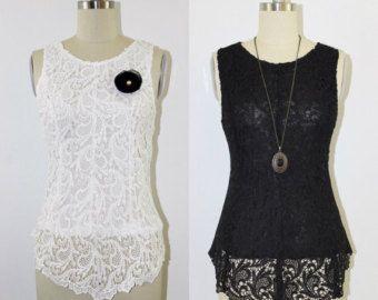 PLUS tamaño White Linda blusa de encaje, ganchillo blusa de encaje, encaje Peplum Top, blusa de alto-bajo, Top de encaje de guipur