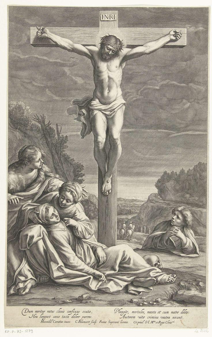 Cornelis Bloemaert (II) | Kruisiging van Christus, Cornelis Bloemaert (II), Senaat van Rome, 1633 - 1692 | Christus aan het kruis genageld. Maria ligt bezwijmd aan de voet van het kruis, ondersteund door de heilige vrouwen. Johannes de Doper is rechts van het kruis afgebeeld. De doodskop aan de voet van het kruis duidt niet alleen Golgotha aan, de Schedelplaats, maar stelt tevens Adams schedel voor.