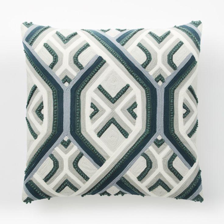 Crewel Ombre Geo Stripe Cushion Cover - Celadon