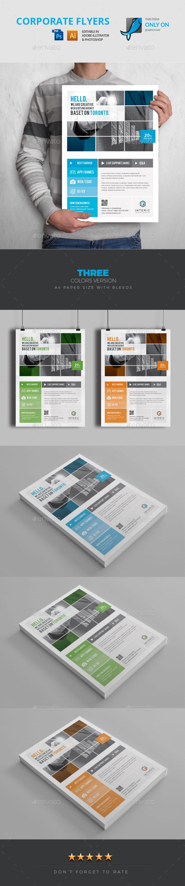 Flyer lyer Well Layered Organised (EPS & PSD), 210×297, CMYK , Print ready,Text/fonts/colors editable. Whats you get in the main files AI/Vector EPS, PSD, CMYK , Text/Font and Color editable, With 3 Colors- Hicolor, Reverse, Grayscale and B/W Logo. Used font included in help file (100% Free). If you like, please rate this…