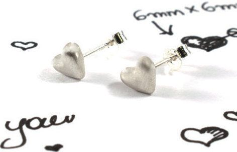 Heart earrings sterling silver studs all-day by Akatergasto
