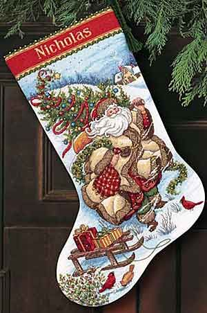 Santa's Journey Christmas Stocking Cross Stitch Kit from Dimensions Gold Collection