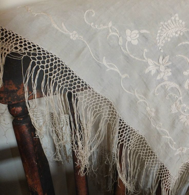 Ladies get shawls ~ why shouldn't the chair? Antique embroidered & fringed silk shawl