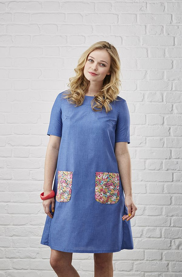 The Lizzy Dress by Simply Sewing Magazine: Misses' Shift Dress, stylish band detial neckline, bust darts, patch pockets, back zipper, size 6-20.