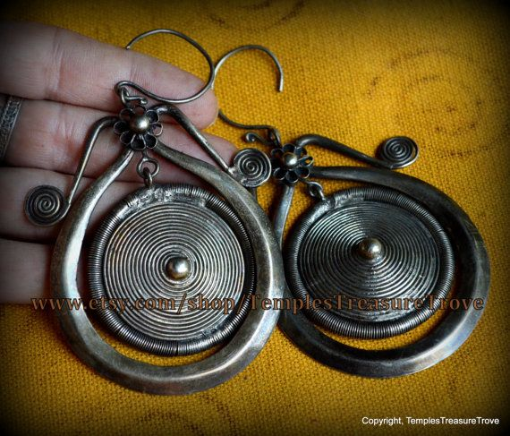 Large Vintage Handcrafted Tribal Organic Articulated Miao Silver Pierced Earrings  High Silver Content UNPOLISHED