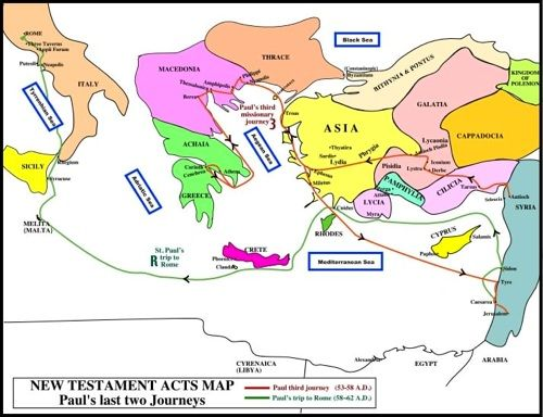Map. Acts Map: Paul's third Rome Missionary Journeys