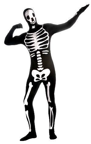 Skeleton  Second Skin Skeleton naamiaisasu varustettuna vyölaukulla, piilosepaluksella ja avattavalla hupulla. Pelottavan hauska naamiaisasu!