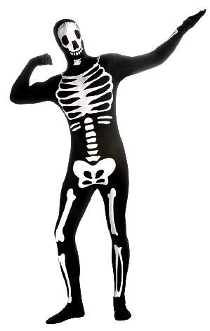 Second Skin Skeleton asu varustettuna vyölaukulla, piilosepaluksella ja avattavalla hupulla. Pelottava, mutta silti niin hauska asu… #naamiaismaailma