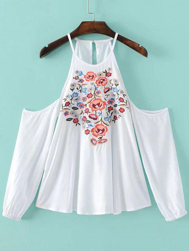 Top con hombros al aire y bordado floral-(Sheinside)