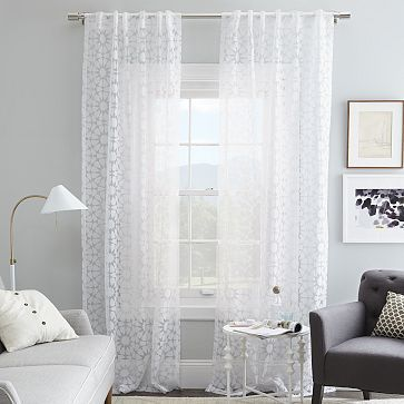 Master Bed with White Cotton Curtain, Rosette Tile Burnout Curtain – White #westelm