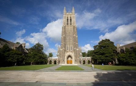 Duke University is a private institution that was founded in 1838. It has a total undergraduate enrollment of 6,655, its setting is suburban, and the campus size is 8,709 acres. It utilizes a semester-based academic calendar. Duke University's ranking in the 2014 edition of Best Colleges is National Universities, 7. Its tuition and fees are $45,476 (2013-14). Location: Durham, NC