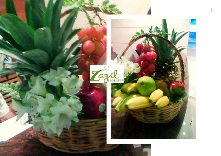 Canasta de frutas  Envios de flores, canastas de frutas, canastas de frutas y flores, canastas gourmet. Modelos: www.floreriazazil.com #floreriasencancun #cancunflorist