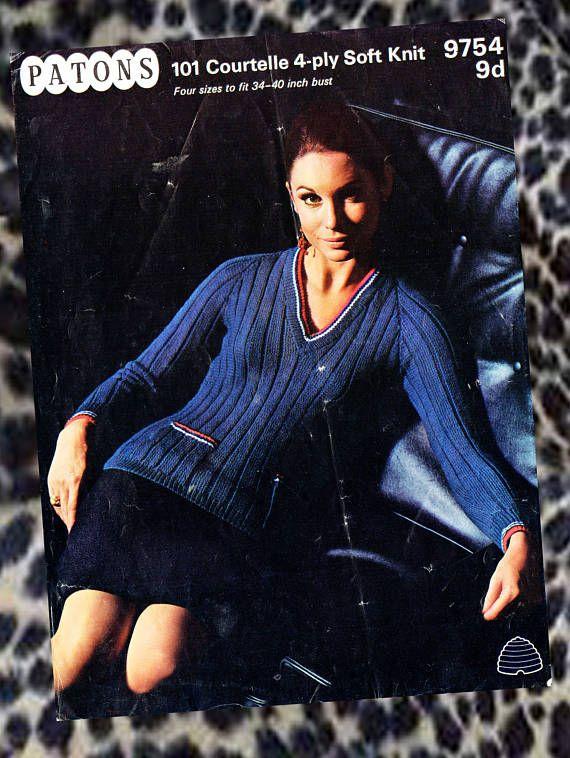 Original Vintage 1960s Womens Ladies Knitting Pattern Elegant