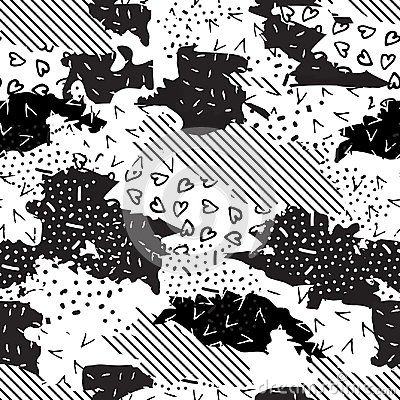 Seamless geometric pattern of different textures. Monochrome abstract background-vector illustration.